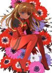 1girl anemone_(flower) arms_between_legs bangs between_legs black_eyepatch blue_eyes blue_flower bodysuit breasts bright_pupils circle closed_mouth evangelion:_3.0_you_can_(not)_redo expressionless eyebrows_behind_hair eyepatch floating_hair floral_background flower full_body hair_ornament hairpods half-closed_eyes hand_between_legs highres invisible_chair joniko1110 leaf light_brown_hair long_hair looking_at_viewer neon_genesis_evangelion one_eye_covered orange_hair outstretched_arms pilot_suit pink_flower plugsuit purple_flower rebuild_of_evangelion red_bodysuit red_flower shaded_face shikinami_asuka_langley simple_background sitting small_breasts solo souryuu_asuka_langley two_side_up v_arms white_flower