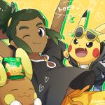1boy :t alolan_form alolan_raichu closed_mouth clothed_pokemon commentary_request dark_skin dark_skinned_male eyewear_on_head fang gen_1_pokemon gen_7_pokemon green_hair guzma_(pokemon) hau_(pokemon) heart hood hoodie jewelry looking_at_viewer male_focus necklace one_eye_closed open_mouth packet pikachu pokemon pokemon_(creature) pokemon_(game) pokemon_sm sewenan shirt shoes short_sleeves smile sunglasses tongue