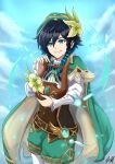 1boy androgynous arnoldtan93 bangs black_hair blue_hair blurry blurry_foreground braid cape clouds cloudy_sky day feathers flower frilled_sleeves frills genshin_impact gradient_hair green_eyes green_flower green_headwear hat hat_flower highres holding holding_instrument instrument leaf long_sleeves looking_at_viewer lyre male_focus multicolored_hair open_mouth outdoors shorts sky smile solo twin_braids venti_(genshin_impact) vision_(genshin_impact)