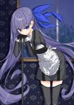 1girl absurdres alternate_costume apron bangs black_dress black_gloves black_legwear blue_bow blue_eyes blush bow broom dress enmaided eyebrows_visible_through_hair fate/extra fate/extra_ccc fate/grand_order fate_(series) flat_chest gloves hair_bow hands_up highres leaning_forward leaning_on_object long_hair long_sleeves looking_at_viewer maid maid_apron meltryllis nogami_(minamiituki) parted_lips purple_hair solo standing thigh-highs thighs very_long_hair white_apron window zettai_ryouiki