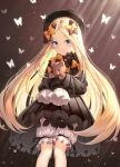 0v0_(l_seohui) 1girl abigail_williams_(fate) absurdres animal bangs black_bow black_dress black_headwear blonde_hair bloomers blue_eyes blush bow bug butterfly closed_mouth commentary_request dress eyebrows_visible_through_hair fate/grand_order fate_(series) forehead hair_bow hat highres holding holding_stuffed_toy huge_filesize insect long_hair long_sleeves looking_at_viewer multiple_bows multiple_hair_bows orange_bow parted_bangs polka_dot polka_dot_bow revision sleeves_past_fingers sleeves_past_wrists smile solo stuffed_animal stuffed_toy teddy_bear underwear very_long_hair white_bloomers