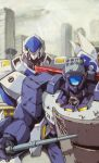 1980s_(style) baton blue_eyes city highres holding holding_shield kidou_keisatsu_patlabor looking_ahead marble-v mecha mecha_request no_humans one-eyed police retro_artstyle science_fiction shield visor
