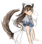1girl angry animal_ears apron azelweien blush breasts brown_eyes brown_hair cat_ears cat_girl cat_tail closed_mouth commentary dress english_commentary frown highres long_hair looking_at_viewer maid_apron maid_headdress medium_breasts neck_ribbon original ribbon sketch skirt solo tail white_background