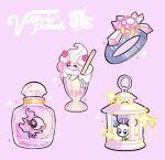 alcremie alcremie_(strawberry_sweet) artist_name bottle commentary diancie drinking_straw gem gen_6_pokemon gen_7_pokemon gen_8_pokemon glass jewelry lantern mythical_pokemon pink_background pokemon pokemon_(creature) pokemon_(game) pokemon_xy ring shiinotic simple_background sparkle spritzee valerie_(pokemon) watermark yamato-leaphere
