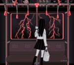 1girl artist_name bag black_hair black_legwear black_skirt facing_away from_behind hand_grip lightning limited_palette long_hair long_sleeves myon_(tokipi) original pleated_skirt shirt signature skirt socks solo standing train_interior white_shirt wide_shot