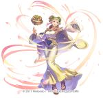 1girl alternate_costume alternate_hairstyle anbe_yoshirou arm_up armpits aura belt blonde_hair cape circlet collarbone commentary_request detached_sleeves dress energy fire_emblem fire_emblem_heroes floating floating_object flower full_body gold_belt gold_dress gold_trim gradient_dress gradient_hair green_eyes hair_flower hair_ornament henriette_(fire_emblem) jewelry knees_together_feet_apart long_dress looking_to_the_side multicolored multicolored_clothes multicolored_dress multicolored_hair open_mouth petals pink_hair rose sandals sapphire_(gemstone) shadow simple_background smile solo taut_clothes taut_dress vase watermark white_background white_cape white_dress wide_sleeves