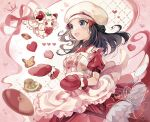 1girl :d alcremie alcremie_(strawberry_sweet) apron black_hair blush coco7 commentary_request dawn_(pokemon) ditto dress eyelashes frills gen_1_pokemon gen_8_pokemon grey_eyes hair_ornament hairclip hat heart holding long_hair open_mouth oven_mitts pikachu pink_ribbon pokemon pokemon_(creature) pokemon_(game) pokemon_masters_ex red_dress red_mittens ribbon short_sleeves smile tongue valentine