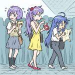 3girls ahoge ayanami_rei ayanami_rei_(cosplay) blue_hair cellphone cellphone_charm choker comiket cosplay crowd dress eyebrows_visible_through_hair food hiiragi_kagami hiiragi_tsukasa ikari_shinji ikari_shinji_(cosplay) izumi_konata long_hair lucky_star map multiple_girls necktie neon_genesis_evangelion pants phone pleated_skirt pocky purple_hair sandwich shirt_tucked_in skirt souryuu_asuka_langley souryuu_asuka_langley_(cosplay) sundress sweatdrop truffleduster undershirt