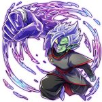 1boy :d colored_sclera colored_skin dragon_ball dragon_ball_super earrings evil fused_zamasu green_skin grey_eyes jewelry male_focus mismatched_sclera open_mouth potara_earrings punching purple_skin purple_slime red_eyes ring smile solo spiky_hair teba_makoto veins white_hair yellow_sclera