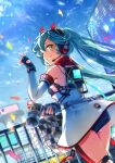 1girl aqua_eyes aqua_hair bare_shoulders black_gloves blurry blurry_background building cable checkered checkered_flag commentary confetti cowboy_shot day detached_sleeves dress fingerless_gloves flag from_behind gloves goodsmile_racing grin hand_up hatsune_miku headphones headset holding holding_wrench impact_wrench kyashii_(a3yu9mi) logo long_hair looking_at_viewer looking_back one_eye_closed outdoors racing_miku racing_miku_(2020) sleeveless sleeveless_dress smile smiley_face solo strapless strapless_dress twintails v very_long_hair vocaloid white_dress white_sleeves wrench