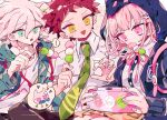 ! 1girl 2boys :o animal_ears animal_hood arm_up backpack bag black_pants border breasts brown_hair buttons cat cat_hood claw_pose commentary controller danganronpa_(series) danganronpa_2:_goodbye_despair dango dot_nose eating eyebrows_visible_through_hair eyelashes fake_animal_ears feet_out_of_frame fish_in_mouth flipped_hair food food_in_mouth game_controller green_eyes green_jacket green_neckwear hair_ornament hairclip handheld_game_console highres hinata_hajime holding holding_controller holding_food holding_game_controller hood hood_up hooded_jacket jacket komaeda_nagito large_breasts looking_at_another looking_down medium_hair multiple_boys nanami_chiaki necktie open_mouth osshouri55 pants pink_background pink_eyes pink_hair pink_neckwear pleated_skirt shirt short_hair simple_background sitting skirt spoken_exclamation_mark sticker thought_bubble triangle_mouth wagashi wavy_hair white_shirt yellow_eyes yellow_skirt
