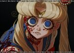 1girl artist_name bishoujo_senshi_sailor_moon black_background blonde_hair blood blood_on_face bloody_clothes blue_eyes blue_sailor_collar choker circlet clenched_teeth crescent crescent_earrings derivative_work earrings heart heart_choker holy_ravioli jewelry long_hair ringed_eyes sailor_collar sailor_moon sailor_moon_redraw_challenge school_uniform screencap_redraw serafuku shirt solo teeth tsukino_usagi twintails white_shirt wide-eyed