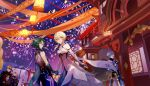 absurdres architecture bead_necklace beads black_cape blonde_hair blue_eyes blue_hair cape character_request chinese_clothes chongyun_(genshin_impact) cowboy_shot dress east_asian_architecture eating elbow_gloves esz_(bzsaro01) fingerless_gloves fireworks flower food genshin_impact gloves green_hair grey_hair hair_flower hair_ornament highres holding holding_food holding_hands hood hoodie jewelry lantern looking_at_viewer looking_back lumine_(genshin_impact) mask masquerade_mask necklace night night_sky orange_hair outdoors paper_lantern parted_lips short_hair short_hair_with_long_locks sky sleeveless sleeveless_dress streamers tagme tattoo white_dress white_flower white_gloves white_hoodie xiao_(genshin_impact) yellow_eyes
