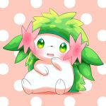 absurdres blush commentary_request eyelashes full_body gen_4_pokemon green_eyes highres looking_at_viewer mythical_pokemon no_humans open_mouth pokemer pokemon pokemon_(creature) polka_dot polka_dot_background shaymin shaymin_(land) signature solo tongue