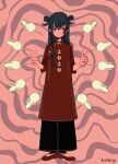 1girl 2020 black_eyes black_hair chinese_zodiac double_bun double_v expressionless full_body long_sleeves looking_at_viewer myon_(tokipi) original red_footwear red_shirt shirt shoes signature solo standing v year_of_the_rat