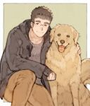 1boy alternate_costume animal black_coat black_hair brown_fur brown_hair chataro1412 coat dog glasses knee_up male_focus open_clothes open_coat rimless_eyewear shiro_(tokyo_houkago_summoners) short_hair smile solo sweater thick_eyebrows tokyo_houkago_summoners tongue tongue_out winter_clothes