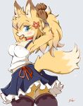 1girl adjusting_hair animal_ears ass bangs blonde_hair blue_eyes bracelet choker closed_mouth flower fox fox_ears fox_girl fox_tail furry hair_flower hair_ornament hair_tie_in_mouth jewelry looking_at_viewer moriguru77 mouth_hold nipples original ponytail simple_background skirt solo standing tail tank_top thigh-highs thong tying_hair upskirt white_background