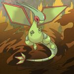claws commentary_request floating flygon full_body gen_3_pokemon hands_up looking_to_the_side no_humans pokemon pokemon_(creature) sand shiny shuga_(mhwii)