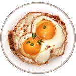 bowl egg food food_focus garnish lowres no_humans original realistic simple_background spring_onion still_life sudou_noboru sunny_side_up_egg white_background