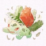 commentary_request fangs full_body gen_1_pokemon highres ivysaur leaf neejyu no_humans open_mouth pokemon pokemon_(creature) red_eyes smile solo tongue