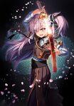 1girl hiroyama_hiroshi katana long_hair looking_at_viewer nail_polish pink_hair side_ponytail smile sword toji_no_miko tsubakuro_yume weapon