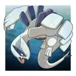 border commentary_request fangs full_body gen_2_pokemon grey_eyes highres legendary_pokemon looking_to_the_side lugia no_humans open_mouth outside_border pokemon pokemon_(creature) shuga_(mhwii) solo toes tongue white_border
