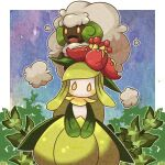 :d blush commentary_request cotton_ball gen_5_pokemon leaf lilligant looking_at_viewer lowres open_mouth orange_eyes pokemon pokemon_(creature) shuga_(mhwii) smile tongue whimsicott