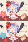 1girl 60mai back_bow bat_wings blue_hair blush bow chibi club commentary fang flower food full_body hat highres holding holding_weapon kanabou makizushi mask mask_on_head masu mob_cap multiple_views oni_mask open_mouth pink_headwear pink_shirt pink_skirt puffy_short_sleeves puffy_sleeves red_bow remilia_scarlet setsubun shirt short_hair short_sleeves simple_background skirt smile solid_oval_eyes spot_the_differences sushi touhou v-shaped_eyebrows weapon wings