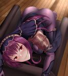 1girl absurdres armor bodysuit breasts chair fate/grand_order fate_(series) highres indoors large_breasts leotard long_hair looking_at_viewer oirin pauldrons purple_bodysuit purple_hair purple_leotard red_eyes scathach_(fate)_(all) scathach_(fate/grand_order) shoulder_armor smile solo