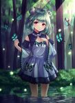 1girl bangs bare_shoulders black_bow blue_dress blue_sleeves bow bug butterfly commentary_request detached_sleeves double_bun dress eyebrows_visible_through_hair forest frilled_dress frills green_hair hair_bow highres hololive insect juliet_sleeves long_sleeves looking_at_viewer nature parted_lips puffy_sleeves red_eyes shiro_(acad1213) sleeveless sleeveless_dress solo standing uruha_rushia virtual_youtuber wading water wide_sleeves