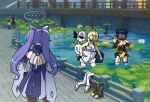 bare_shoulders blue_hair bridge cape chinese_clothes detached_sleeves double_bun dress fish frills genshin_impact gloves hair_ornament hair_rings halo hand_on_hip highres keqing koi lily_pad long_hair lumine_(genshin_impact) multiple_girls open_mouth paimon_(genshin_impact) pond purple_hair rpdls56_genshin scarf short_hair sleeveless twintails water white_hair xiangling_(genshin_impact)