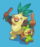 >_o absurdres blue_background closed_eyes commentary_request fang gen_8_pokemon grookey highres holding holding_stick nullma one_eye_closed open_mouth paws pokemon pokemon_(creature) sharp_teeth signature simple_background standing stick teeth thwackey toes tongue