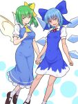 2girls ascot bangs black_footwear blue_bow blue_dress blue_eyes blue_hair bow breasts cirno closed_mouth collared_dress daiyousei dotted_background dress eyebrows_visible_through_hair fairy_wings frilled_ascot frilled_dress frills green_eyes green_hair hair_bow hair_ribbon highres holding_hands ice ice_wings kakone looking_at_viewer medium_breasts medium_hair multiple_girls neck_ribbon open_mouth red_neckwear red_ribbon ribbon short_hair short_sleeves side_ponytail small_breasts smile socks tanned_cirno touhou white_background white_legwear white_sleeves wings yellow_neckwear yellow_ribbon yellow_wings