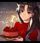 1girl bangs black_hair blue_eyes blush breasts brown_hair cake candle commentary_request dated fate/stay_night fate_(series) food hair_ribbon happy_birthday highres holding letterboxed long_hair long_sleeves looking_at_viewer medium_breasts parted_lips red_sweater ribbon shimatori_(sanyyyy) smile solo sweater tohsaka_rin two_side_up upper_body