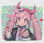 1girl bangs blunt_bangs blush bow commentary_request cupcake danganronpa_(series) danganronpa_another_episode:_ultra_despair_girls fake_horns food fork fruit green_background grey_background hair_bow hairband hands_up happy_birthday heart highres holding horns jacket kara_aren long_hair long_sleeves looking_at_viewer pink_eyes pink_hair plate polka_dot polka_dot_bow shirt skirt smile solo strawberry symbol-shaped_pupils tongue tongue_out twintails upper_body utsugi_kotoko very_long_hair