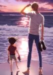 2boys adjusting_eyewear amuro_tooru arm_at_side arm_up arms_at_sides barefoot belt blonde_hair brown_hair brown_shorts casual child clouds cloudy_sky commentary_request edogawa_conan facing_away from_behind full_body gradient_sky holding holding_shoes k_(gear_labo) leg_up male_focus meitantei_conan multiple_boys ocean outdoors red_footwear red_shirt sand shadow shirt shoes shoes_removed short_hair short_sleeves shorts sky sneakers standing standing_on_one_leg sun sunglasses twilight watch watch white_footwear
