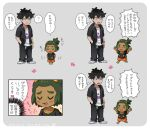 2boys ? arrow_(symbol) bangs black_hair black_hoodie black_pants blush commentary_request dark_skin dark_skinned_male grey_background guzma_(pokemon) hand_in_pocket hau_(pokemon) hood hoodie male_focus multiple_boys open_clothes open_hoodie orange_shorts pants pokemon pokemon_(game) pokemon_sm sewenan shirt shoes short_hair short_sleeves shorts simple_background speech_bubble spoken_question_mark thought_bubble translation_request white_footwear white_shirt younger