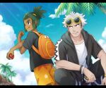 2boys :q backpack bag black_shirt bracelet clouds commentary_request dark_skin dark_skinned_male day green_hair guzma_(pokemon) hair_ornament hau_(pokemon) holding holding_poke_ball hood hoodie jewelry lens_flare male_focus multiple_boys open_clothes open_hoodie orange_bag orange_shorts outdoors palm_tree parted_lips poke_ball poke_ball_(basic) pokemon pokemon_(game) pokemon_sm sewenan shirt short_sleeves shorts sky smile standing stretch tongue tongue_out tree