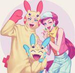 1boy 1girl absurdres blue_eyes commentary_request cosplay earrings fangs gen_1_pokemon gen_3_pokemon gi_xxy green_eyes hat highres james_(pokemon) jessie_(pokemon) jewelry looking_at_viewer meowth minun minun_(cosplay) minun_ears minun_tail open_mouth plusle plusle_(cosplay) plusle_ears plusle_tail pokemon pokemon_(anime) pokemon_(creature) pokemon_dp039 pokemon_dppt_(anime) pokemon_ears pokemon_tail smile team_rocket