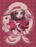 1girl alcremie alcremie_(strawberry_sweet) apron artist_name black_hair buttons character_name dated dawn_(pokemon) eyelashes frills gen_8_pokemon hair_ornament hairclip hands_up hat heart highres long_hair looking_at_viewer mameeekueya mittens open_mouth oven_mitts pink_ribbon pokemon pokemon_(creature) pokemon_(game) pokemon_masters_ex ribbon short_sleeves sidelocks smile teeth tongue upper_body