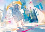 1girl aamond absurdres aqua_eyes building coat crack english_text hat highres holding holding_umbrella long_sleeves looking_at_viewer original outdoors shadow shoes solo standing umbrella white_coat white_footwear wide_shot wide_sleeves