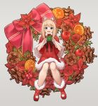 1girl animal_ears apple aqua_eyes arukiru bangs blonde_hair box capelet dress eyebrows_visible_through_hair flower food fruit fur_trim gift gift_box grey_background highres looking_at_viewer medium_hair original pinecone red_capelet red_dress red_flower red_footwear simple_background sitting solo wide_shot