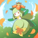 blurry clouds commentary_request day from_below full_body gen_5_pokemon lilligant lins_(kagekusa) no_humans orange_eyes outdoors outstretched_arms petals pokemon pokemon_(creature) sky solo