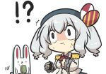 !? 1girl @_@ absurdres beret bow chibi commentary_request cup ehoumaki epaulettes eyebrows_visible_through_hair food goma_(gomasamune) hair_between_eyes hat highres holding holding_food jacket kantai_collection kashima_(kantai_collection) long_sleeves makizushi military military_uniform rabbit sidelocks silver_hair surprised sushi sweatdrop twintails uniform upper_body wide-eyed yunomi