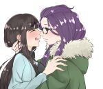 2girls bangs_pinned_back blush brown_hair closed_eyes coat commentary embarrassed eye_contact glasses highres hug jacket kagamihara_sakura long_hair looking_at_another multiple_girls open_mouth purple_hair shirokuro_ookami shirt simple_background sweatdrop toba_minami violet_eyes white_background winter_clothes yuri yurucamp