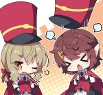 >_< 2girls ;d anzio_(mist_train_girls) black_neckwear black_skirt blush bow braid brown_background brown_eyes brown_hair cape character_request closed_eyes collared_shirt commentary_request fang hair_bow hair_ornament hairclip halftone halftone_background hat long_sleeves milkpanda mist_train_girls multiple_girls necktie one_eye_closed open_mouth ponytail red_bow red_cape red_headwear red_vest shako_cap shirt short_eyebrows skirt sleeves_past_wrists smile thick_eyebrows twin_braids two-tone_background vest white_background white_shirt