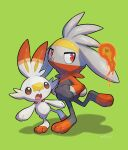 absurdres commentary_request fang fire gen_8_pokemon green_background hands_in_pockets highres nullma open_mouth paws pokemon pokemon_(creature) raboot red_eyes scorbunny shiny simple_background standing toes tongue