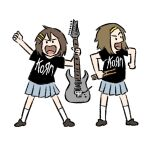 2girls :d black_shirt blue_skirt brown_footwear brown_hair character_request clothes_writing drumsticks electric_guitar full_body guitar hair_ornament hairband hairclip holding holding_instrument instrument k-on! legs_apart looking_at_viewer multiple_girls open_mouth pleated_skirt shirt short_hair short_sleeves simple_background skirt smile socks standing truffleduster white_background white_legwear yellow_hairband
