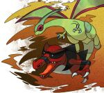 claws closed_mouth commentary_request fangs flygon gen_3_pokemon gen_5_pokemon krookodile no_humans open_mouth pokemon pokemon_(creature) sand shiny shiny_skin shuga_(mhwii) smile tongue