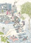 6+girls angel_wings apple bangs black_hair book bottle crack desk dress feathered_wings food fruit hasha highres leaf long_hair multiple_girls no_mouth no_nose original paper quill shelf sitting stairs tree white_dress white_wings wings
